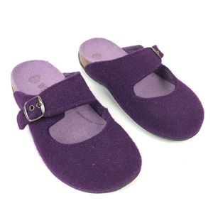 DR ANDREW WEIL PURPLE WOOL MULES CLOGS SIZE 37